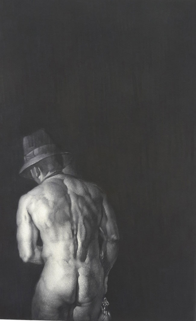 Art Forum_ Poursanidis Savvas, musician, charcoal -pastel on canvas, 122x78cm, 2017