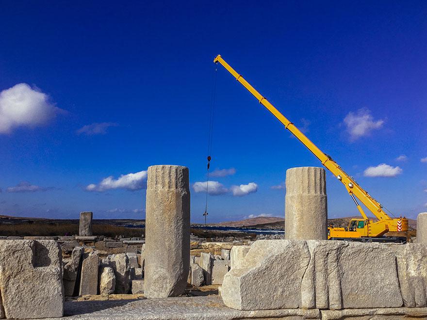 Εργασίες αναστήλωσης στον αρχαιολογικό χώρο της Δήλου