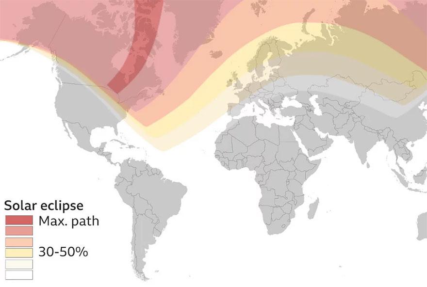 Διάγραμμα του BBC για τη μερική ηλιακή έκλειψη και τις περιοχές που ήταν ορατή