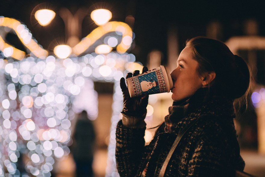 woman drinking, christmas