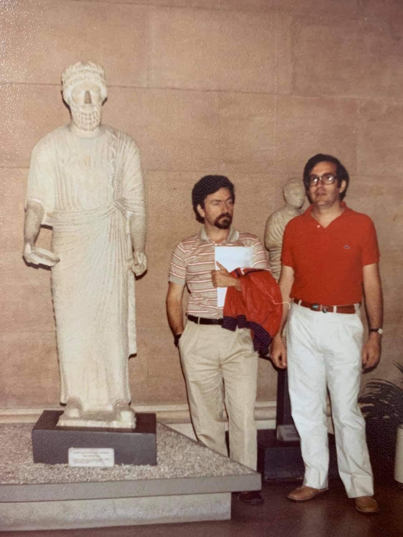 Γιώργος Τόλης (αριστερά) με τον Τάκη Μπεχράκη, Βοστώνη (1981-1982)