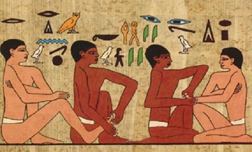 Αιγυπτιακά ιερογλυφικά που δείχνουν διαδικασία μανικιούρ