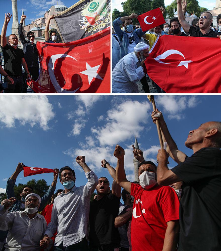 Με τουρκικές σημαίες οι υποστηρικτές του Ερντογάν στην Κωνσταντινούπολη πανηγυρίζουν για τη μετατροπή της Αγίας Σοφίας σε τζαμί