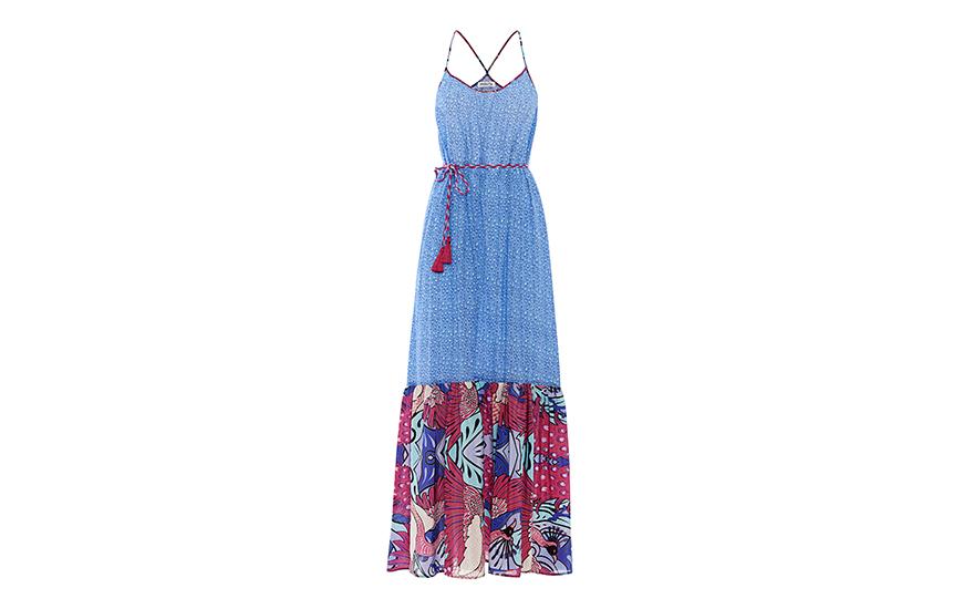 Paolita, μάξι εμπριμέ φόρεμα, από τη σειρά Pavo