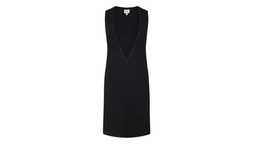 Pepe Jeans, μαύρο κοντό φόρεμα με ανοιχτό ντεκολτέ