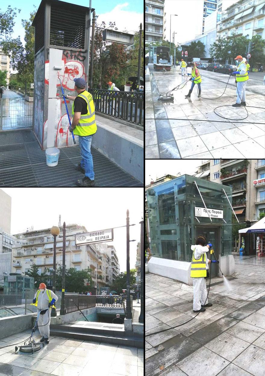 Καθαρισμός και απολύμανση από συνεργείο του Δήμου Αθηναίων στην πλατεία Βικτωρίας