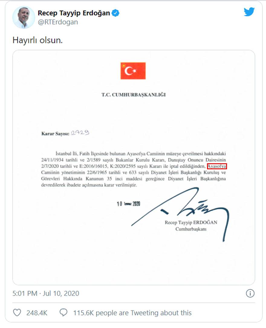 Το προεδρικό διάταγμα που υπέγραψε ο Ερντογάν, με το οποίο η Αγία Σοφία παύει να είναι μουσείo