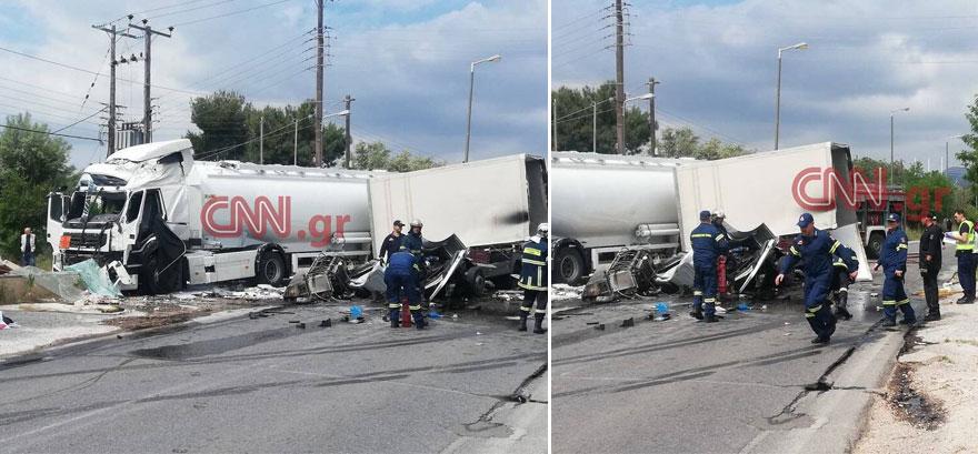 Σφοδρή σύγκρουση βυτιοφόρο με φορτηγό στη λεωφόρο Κορωπίου-Μαρκοπούλου